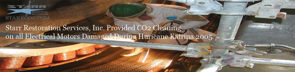 Dry Ice Blasting Cleaning Pump Station Motors Katrina 2005